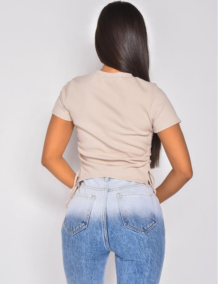 T-shirt côtelé manches courtes froncé