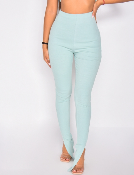 -Ribbed trousers with slit