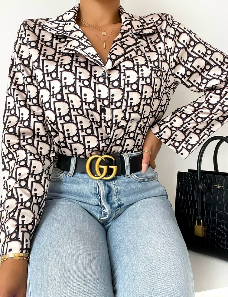 Chemise à motifs lettres
