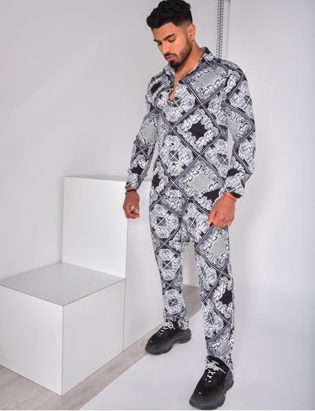 Weich fließende Hose mit Barockmotiven, schwarz und weiß