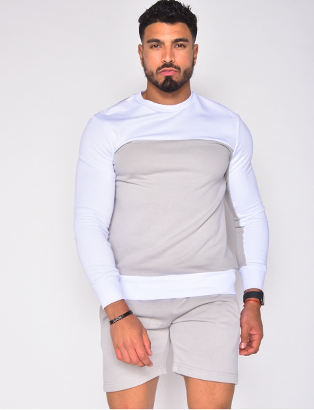 Ensemble sweat et short bi-color