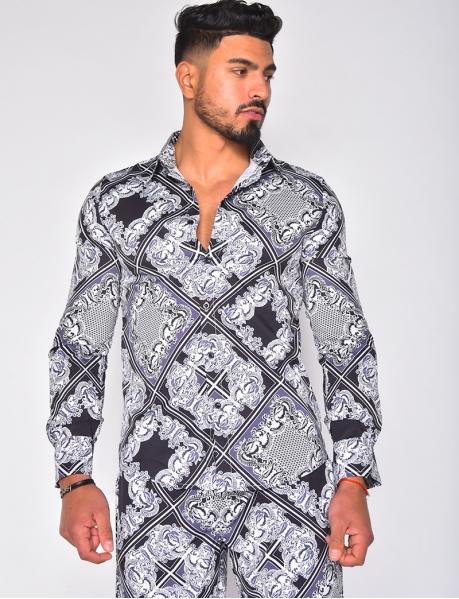 Chemise manches longues à motifs baroque