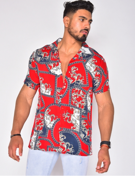 Short Sleeved Shirt with Baroque Pattern