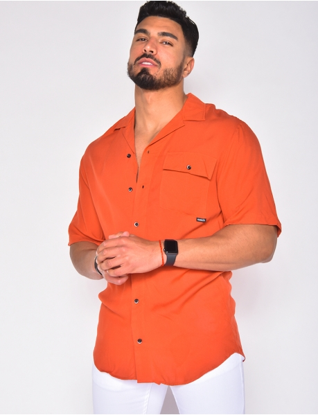 Men's bi-colour buttoned shirt