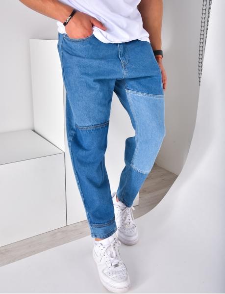 Jeans large avec empiècements