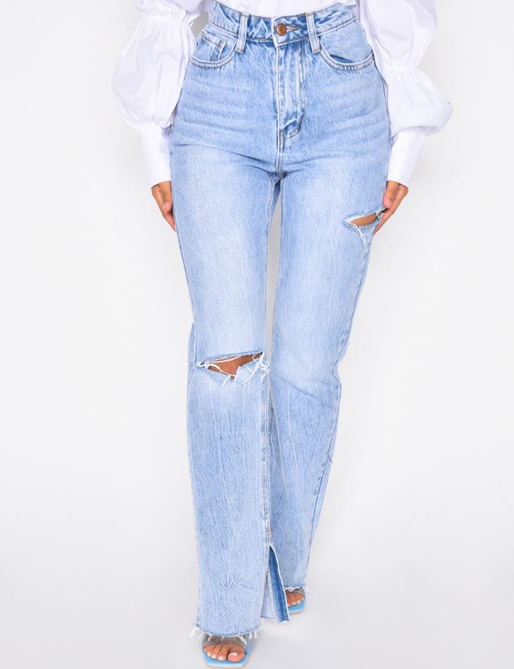 Jeans destroy à fentes