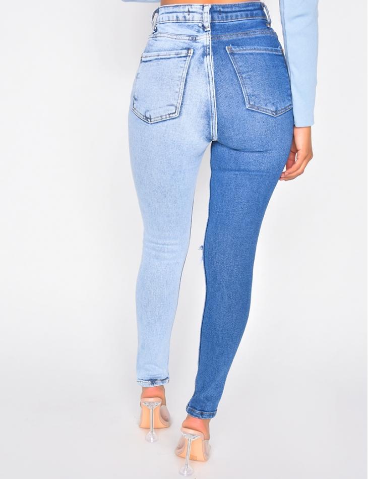 Jeans slim destroy bi-color