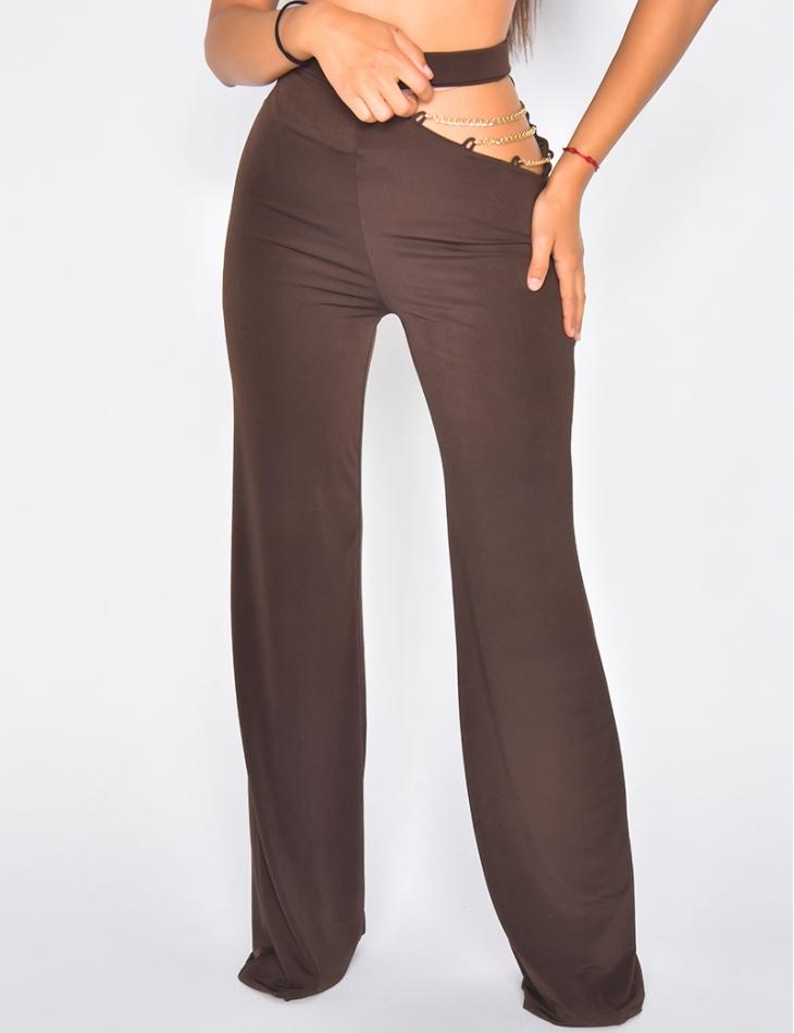 Pantalon ouvert avec petites chaînes