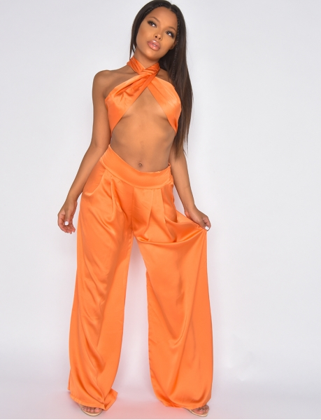 Satin trousers and bandeau co-ord