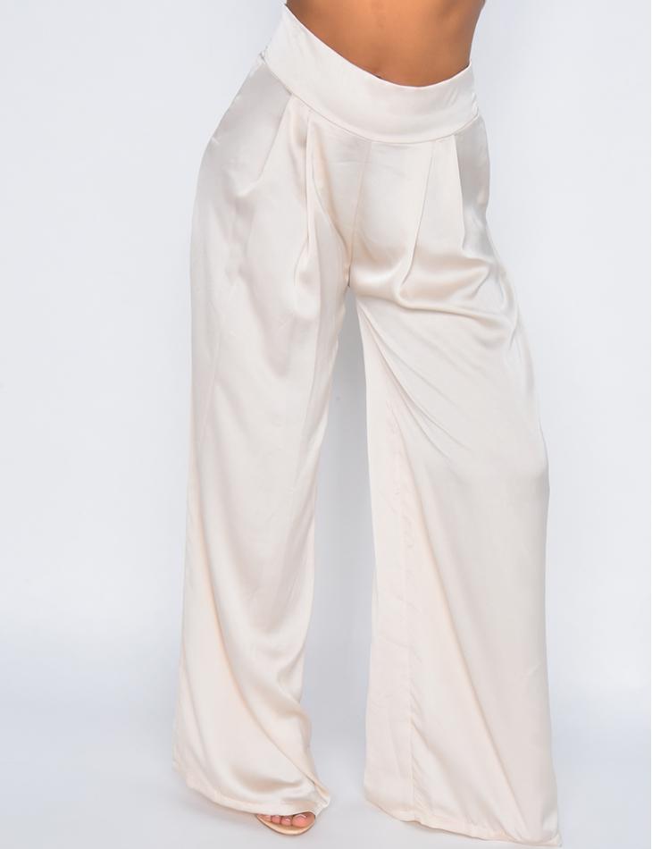 Ensemble pantalon et bandeau à nouer en satin