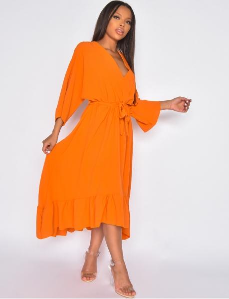 Long flowing short-sleeved dress