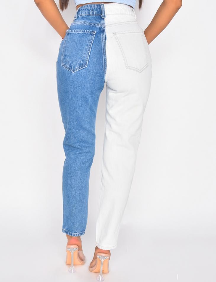 Jeans à boutons en diagonale bi-color