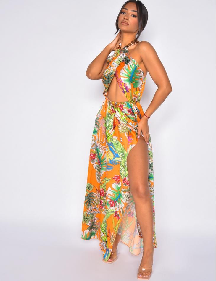 Robe longue ne satin ajourée avec maillon au cou à motif tropicaux