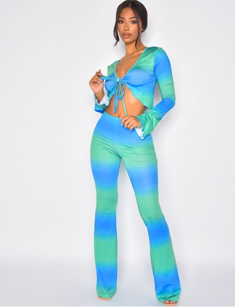 Bi-colour tie top and loose trousers co-ord