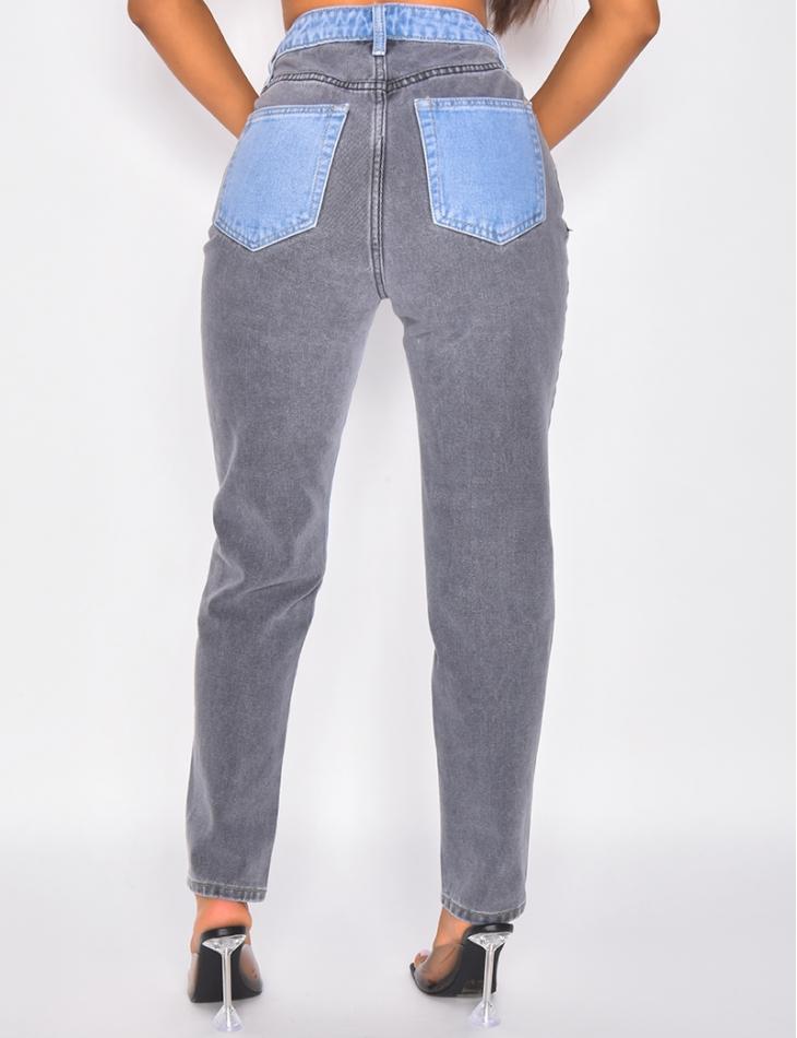 Jeans coupe droite bi-color