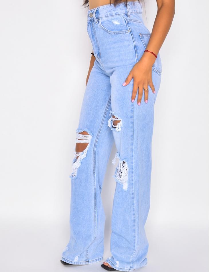 Jeans taille haute large destroy