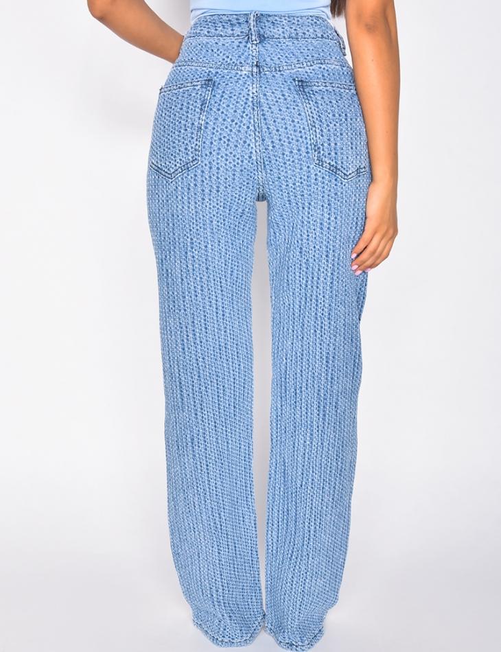 Jeans coupe droite taille haute à relief