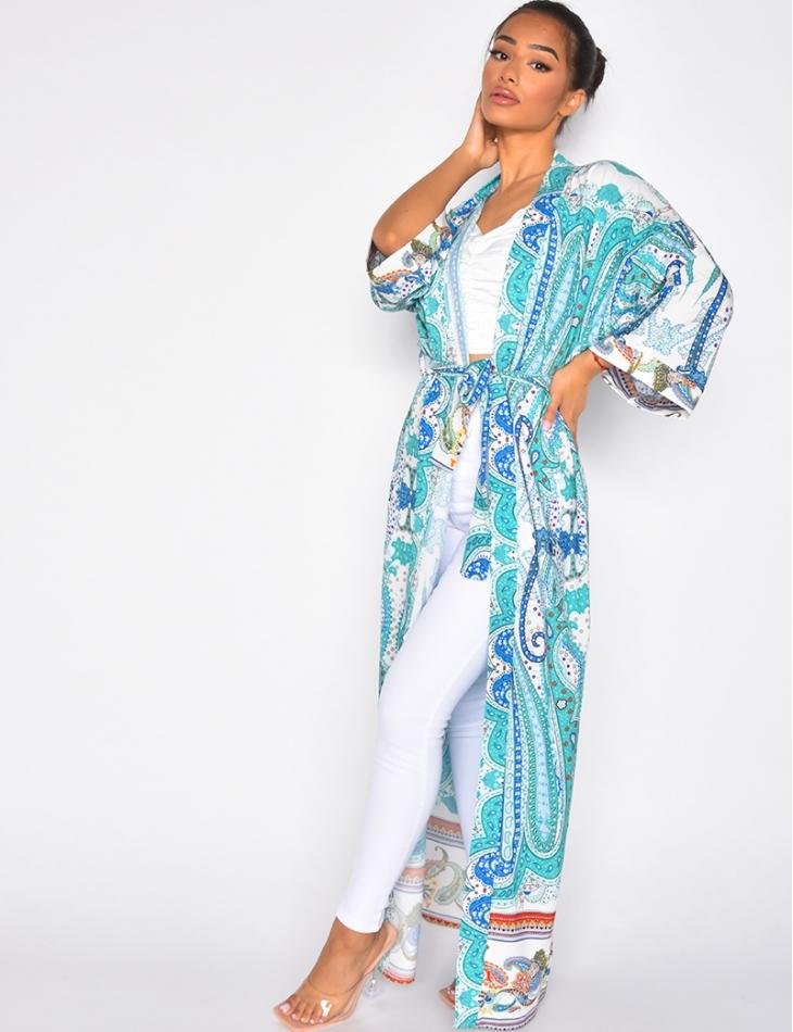 Kimono en satin motif baroque