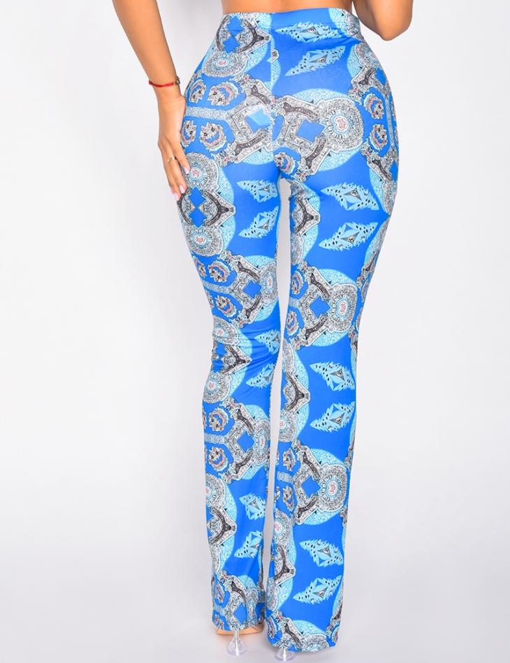 Ensemble pantalon fluide et crop-top à croiser au col motif bandana