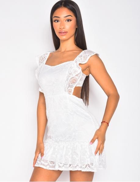 Kleid aus Spitze, rückenfrei, zum Binden