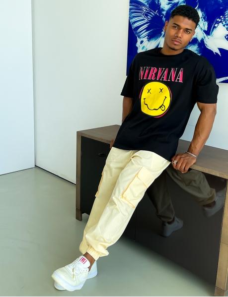 Nirvana-Herren-T-Shirt mit Smiley-Motiv