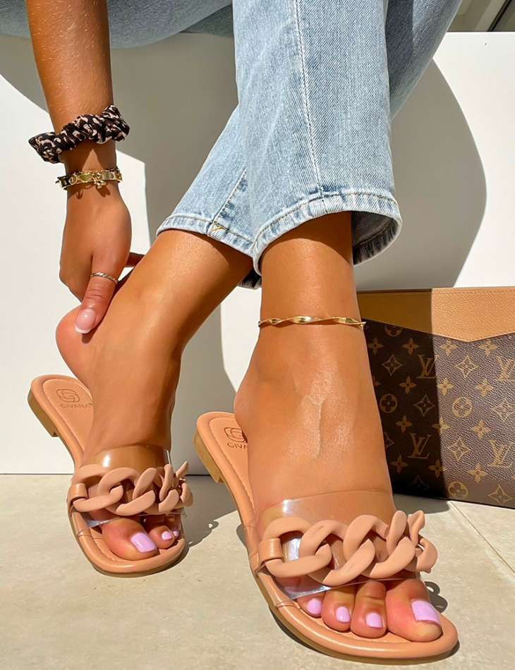 Sandales plates à maillons