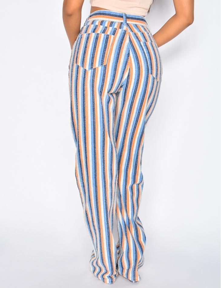 Jeans à rayures de couleurs