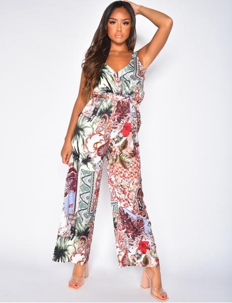 Combinaison pantalon à motif tropical