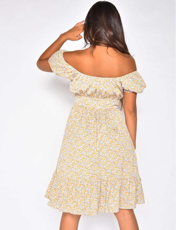 Robe bardot courte à motif fleuri