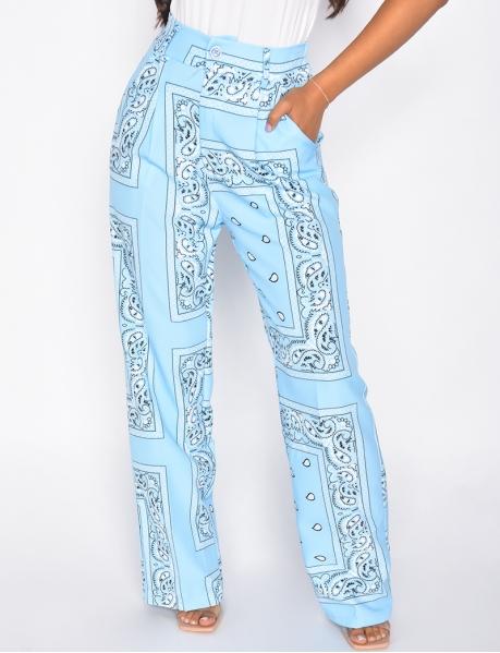 Pantalon large à motif bandana