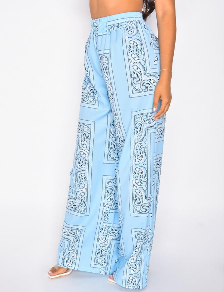 Pantalon large fluide motif bandana