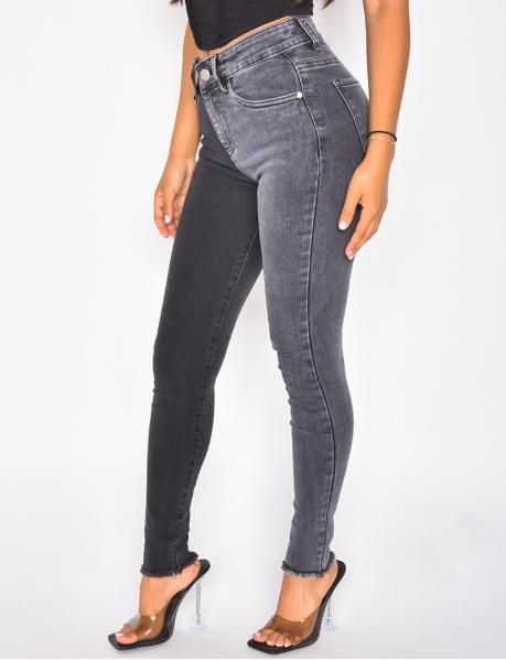 Jeans taille haute slim bi-color