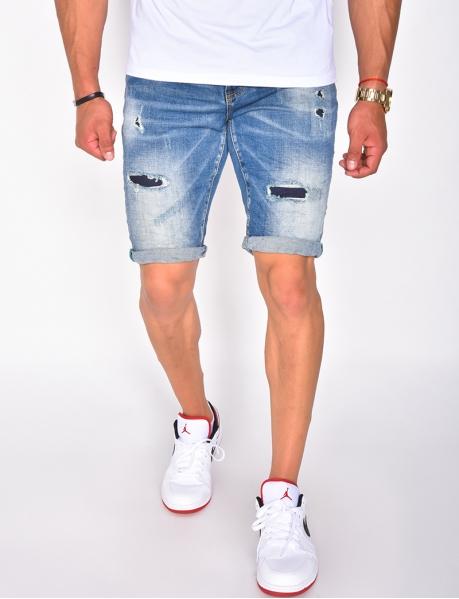 Herren-Shorts in Destroyed-Optik