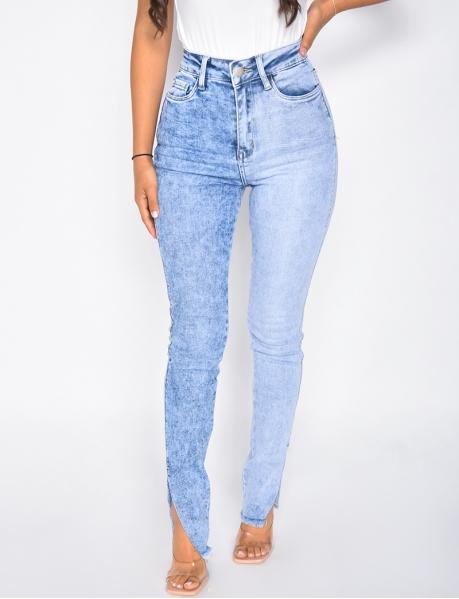 Jeans skinny taille haute bi-color à fentes