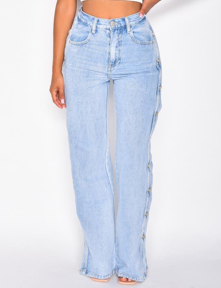 Jeans taille haute coupe droite à boutons pressions