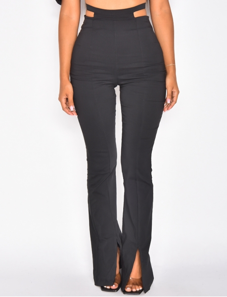 - Flared trousers with slit