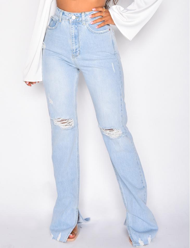 Jeans destroy taille haute