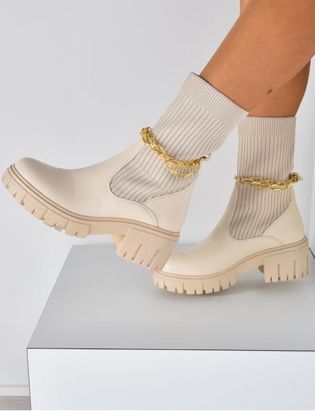 Bottines chaussettes à chaine amovible