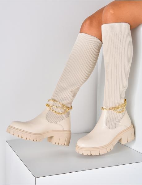 Bottes chaussettes avec petite chaîne amovible