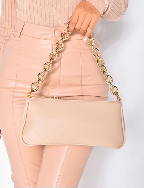 Petit sac à main en simili avec maillon