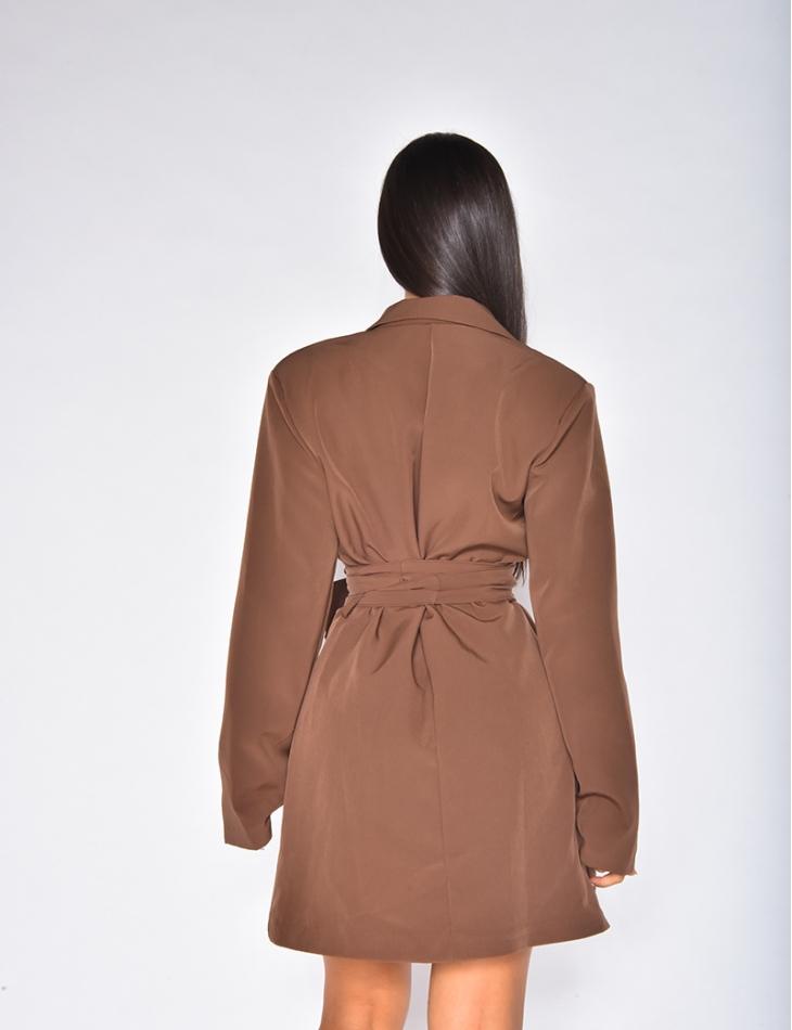 Robe blazer à ceinture