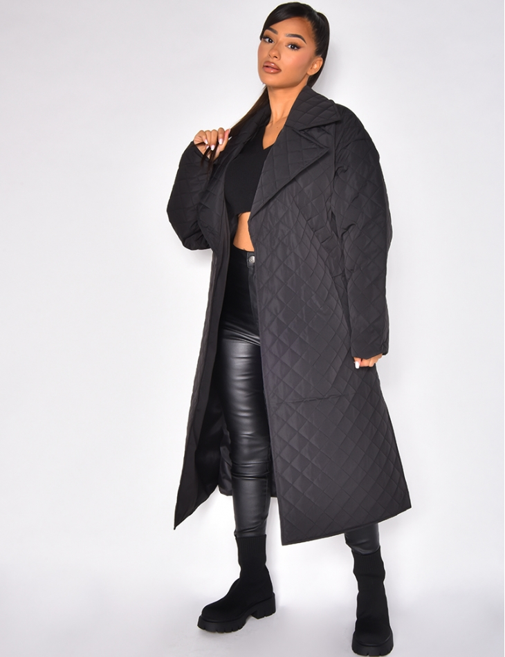 Manteau oversize matelassé à nouer