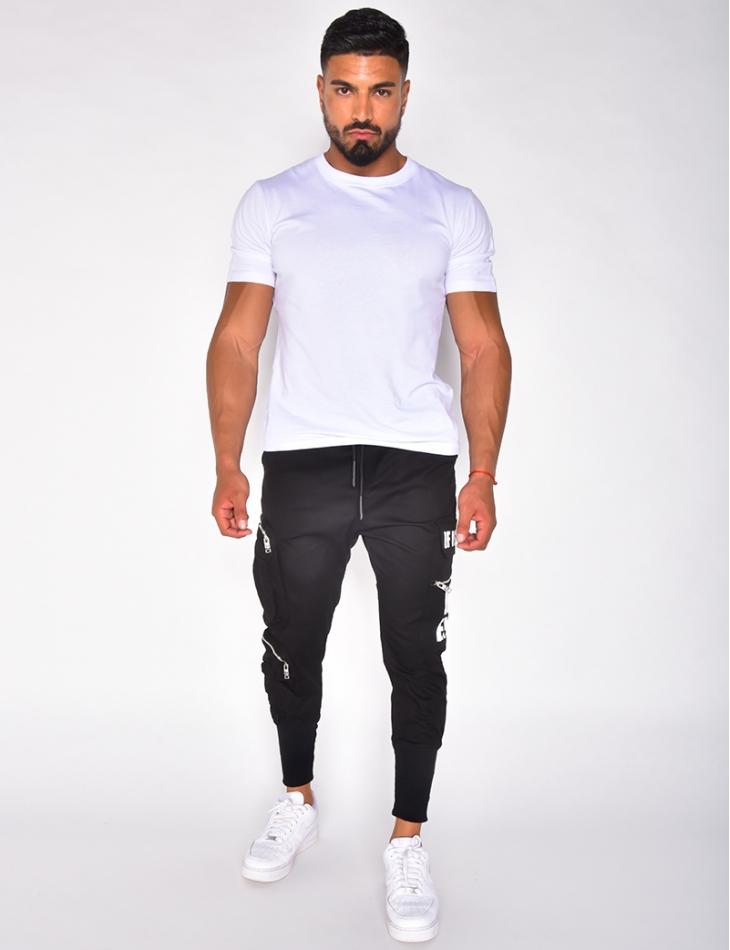 Pantalon cargo à écritures