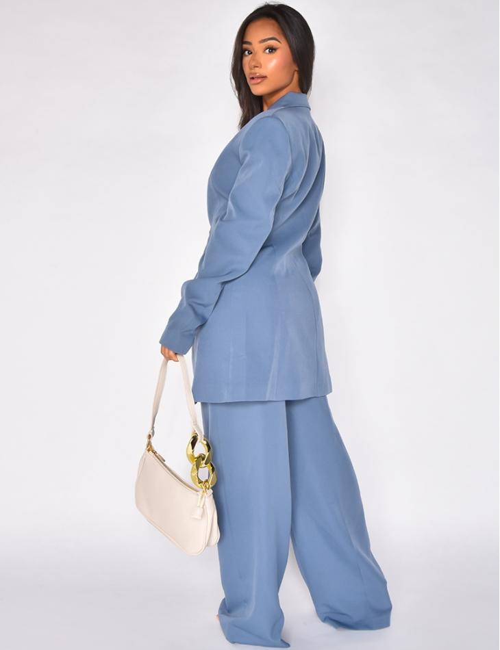 Veste de blazer mi longue bleu vintage