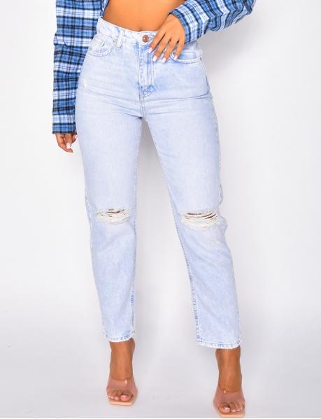 Jeans taille haute coupe droite destroy