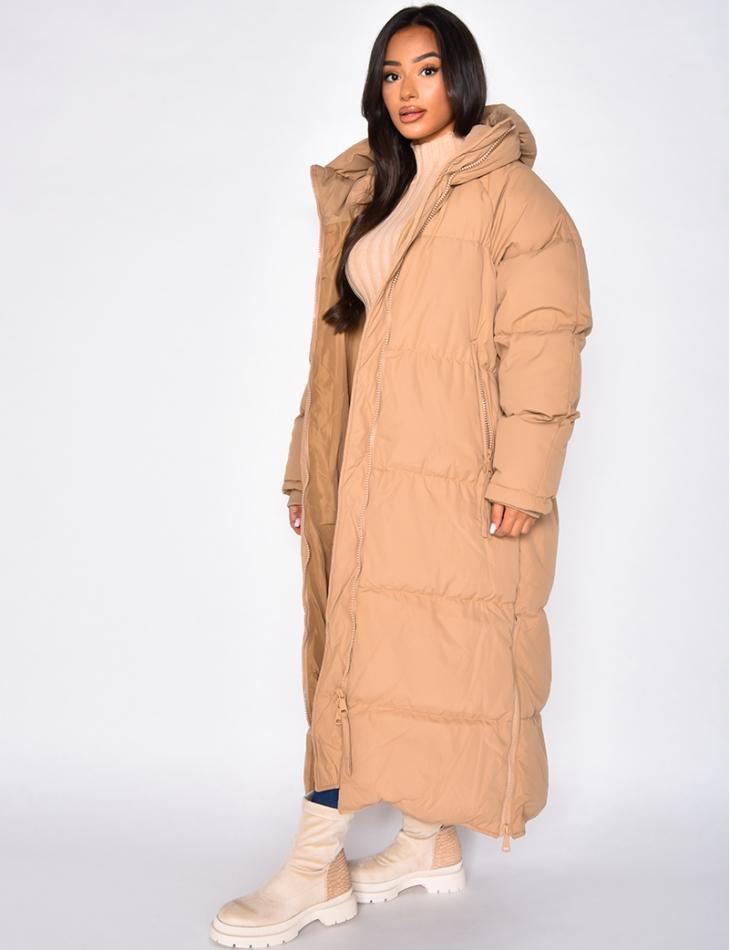 Doudoune longue à capuche avec zip sur les côtés