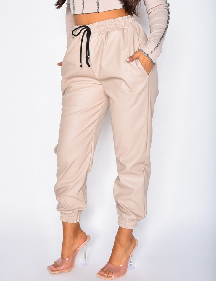Pantalon de jogging en simili