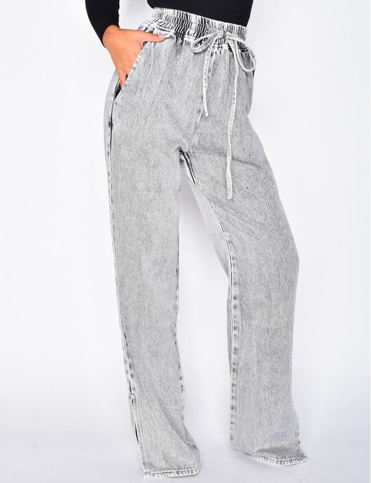 Jeans large à fente