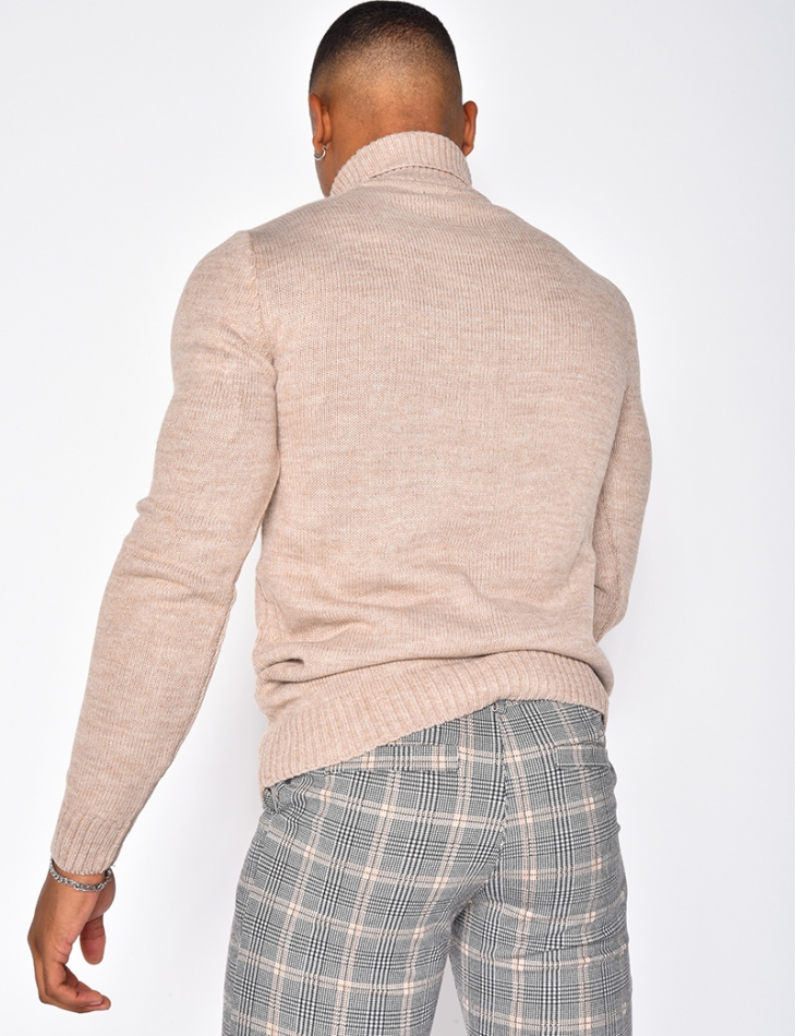 Pull col roulé homme