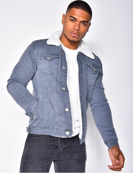 Jeansjacke mit Futter in Schaffelloptik